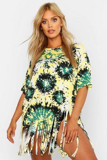 Green Plus Tie Dye Tassel Beach Dress