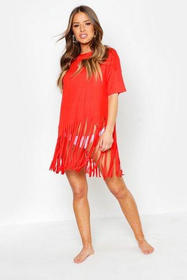 Red Petite Tassel Beach Dress