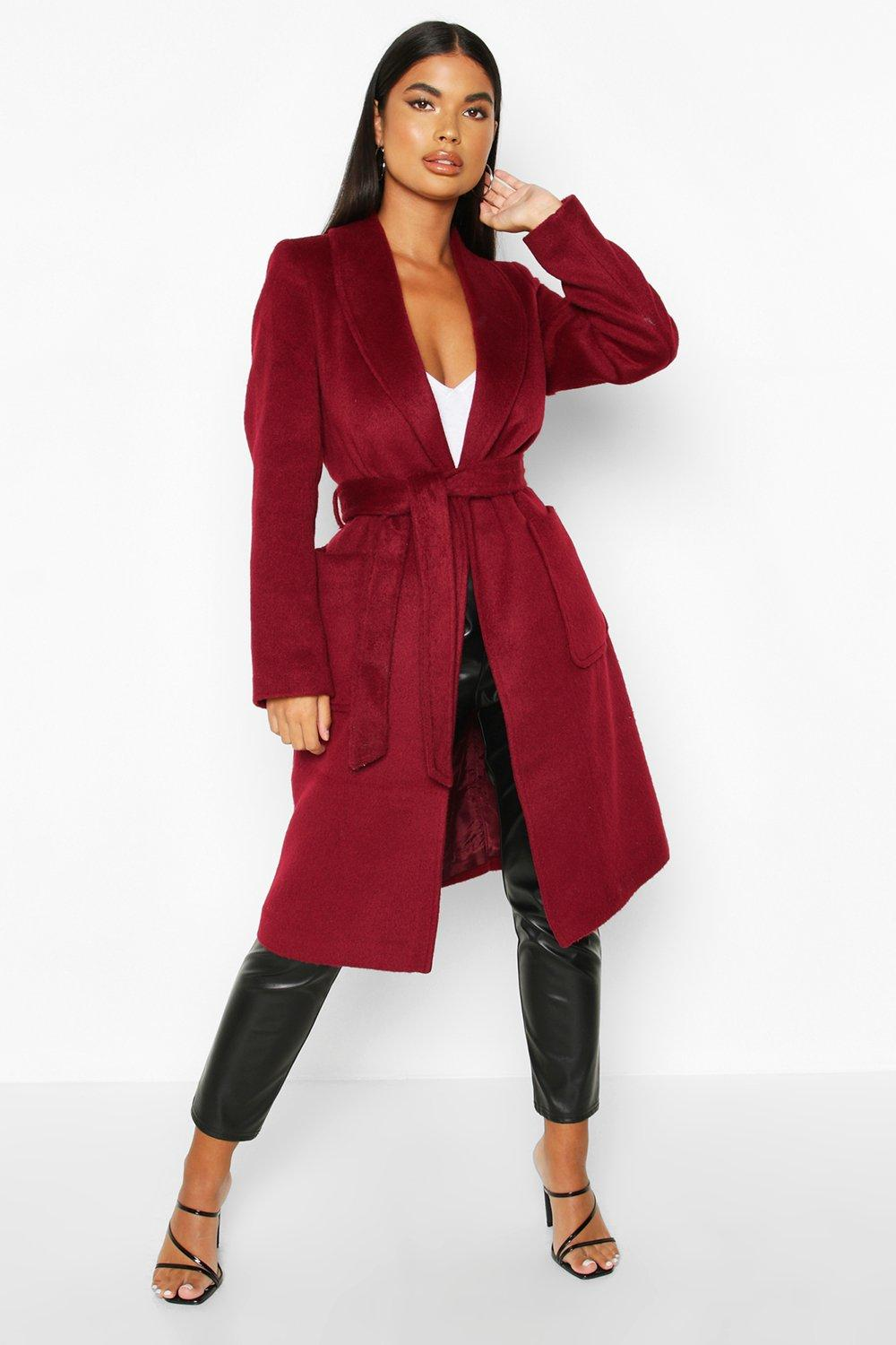 boohoo Womens Petite Wrap Pocket Wool Look Coat - Red - 10, Red