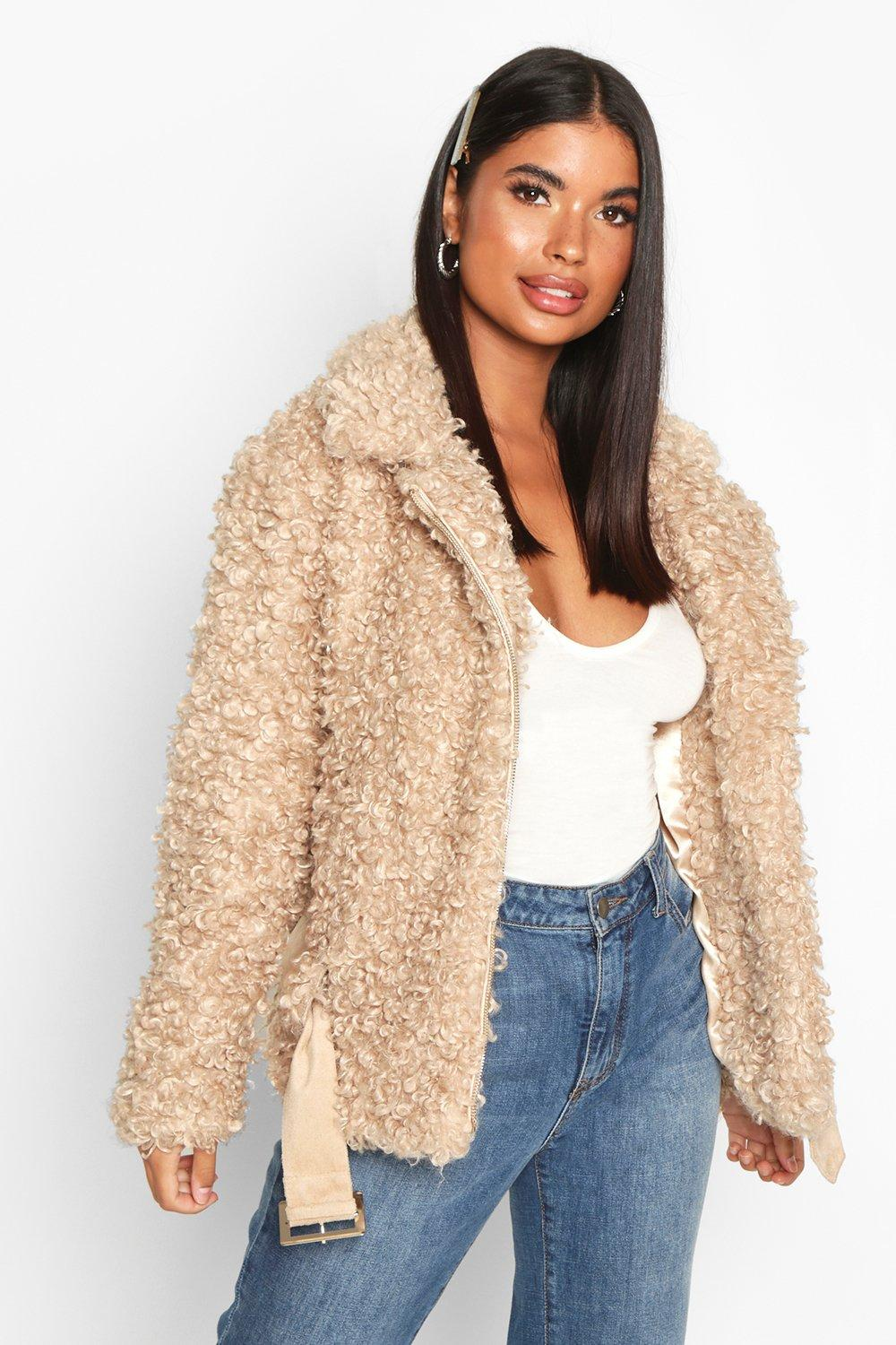 Womens Petite Faux Fur Teddy Aviator Jacket - Brown - 4, Brown