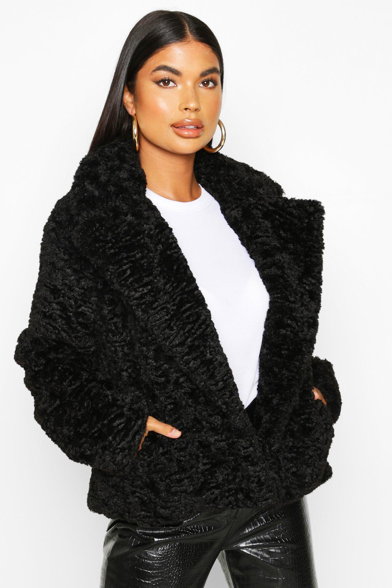 boohoo Womens Petite Luxe Faux Fur Short Jacket - Black - 14, Black