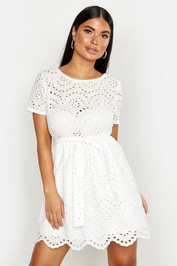 White Petite Broderie Anglaise Skater Dress