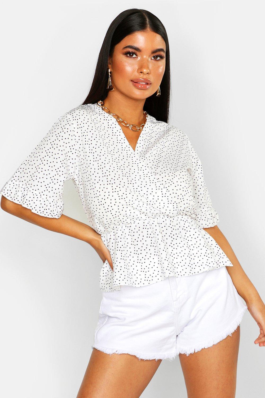 Womens Petite Lockere Kimonobluse mit Pünktchen - Weiß - 30, Weiß - Boohoo.com