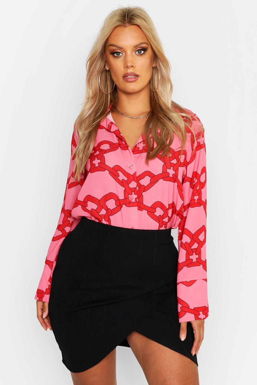 Womens Plus Web-Hemd mit Barockmuster - rosa - 42, Rosa - Boohoo.com