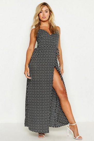 Black Petite Ditsy Floral Wrap Maxi Dress