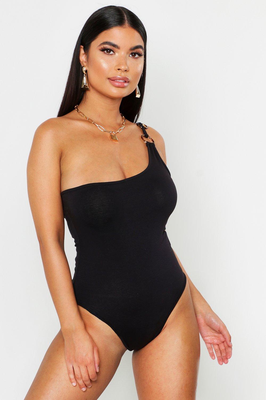 Womens Petite Body mit O-Ring - schwarz - 38, Schwarz - Boohoo.com