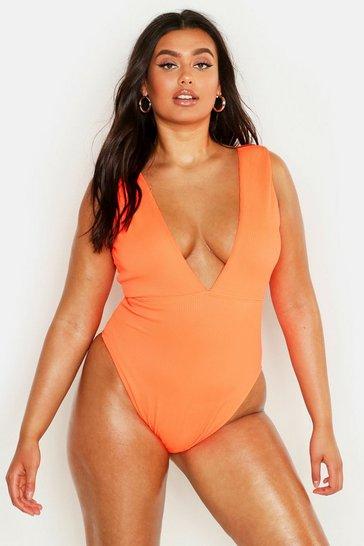 Neon-orange Plus Rib Plunge Swimsuit