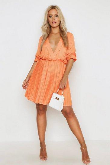 Orange Plus Ruffle Plunge Detail Pleated Skater Dress