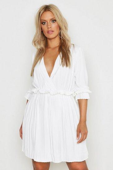 White Plus Ruffle Plunge Detail Pleated Skater Dress