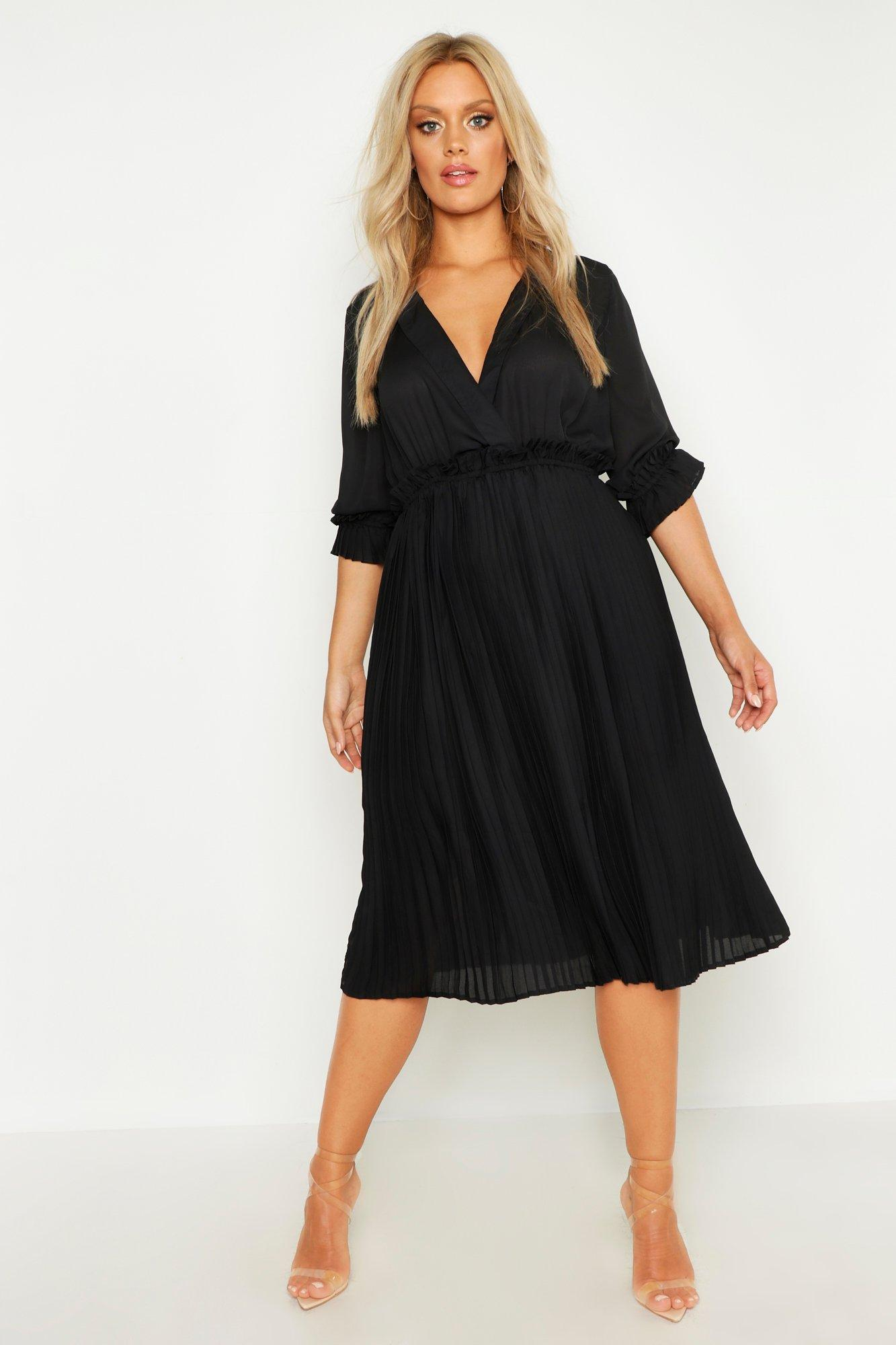 boohoo Womens Plus Ruffle Detail Pleated Midi Dress - Black - 18, Black