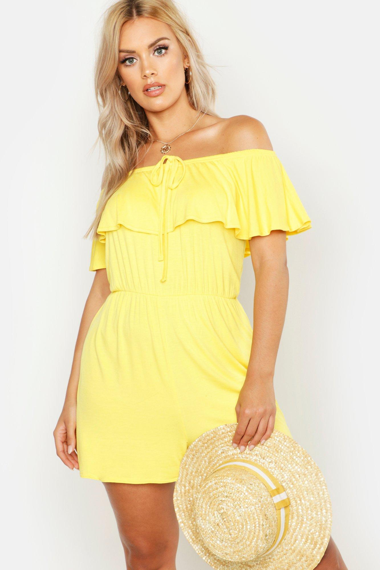 boohoo Womens Plus Bardot Tie Detail Playsuit - Yellow - 16, Yellow