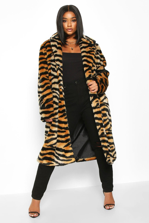 Womens Plus Tiger Print Faux Fur Coat - brown - 18