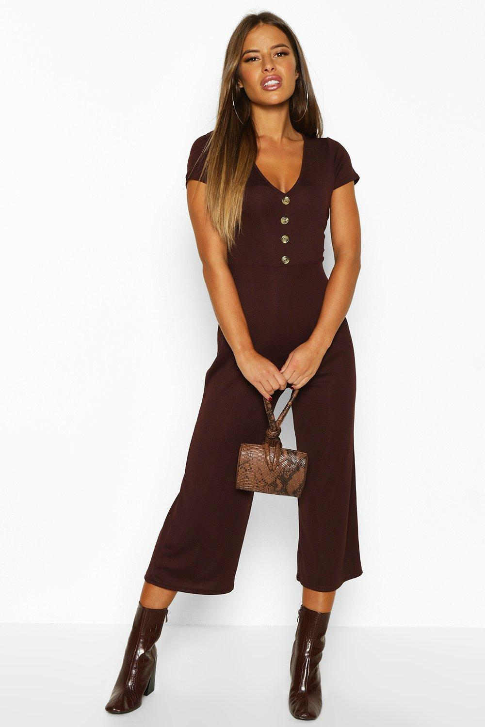 boohoo Womens Petite Rib Mock Horn Button Culotte Jumpsuit - Brown - 12, Brown