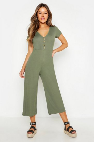 Khaki Petite Rib Mock Horn Button Culotte Jumpsuit