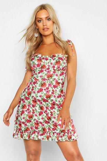 Sage Plus Floral Ruched Cup Skater Dress