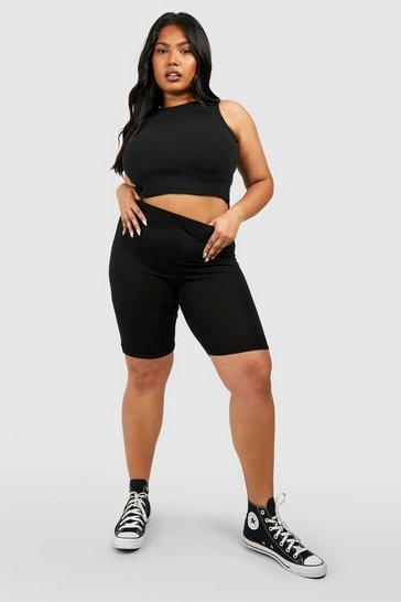 Black Plus Basic Jersey Longline Cycling Shorts
