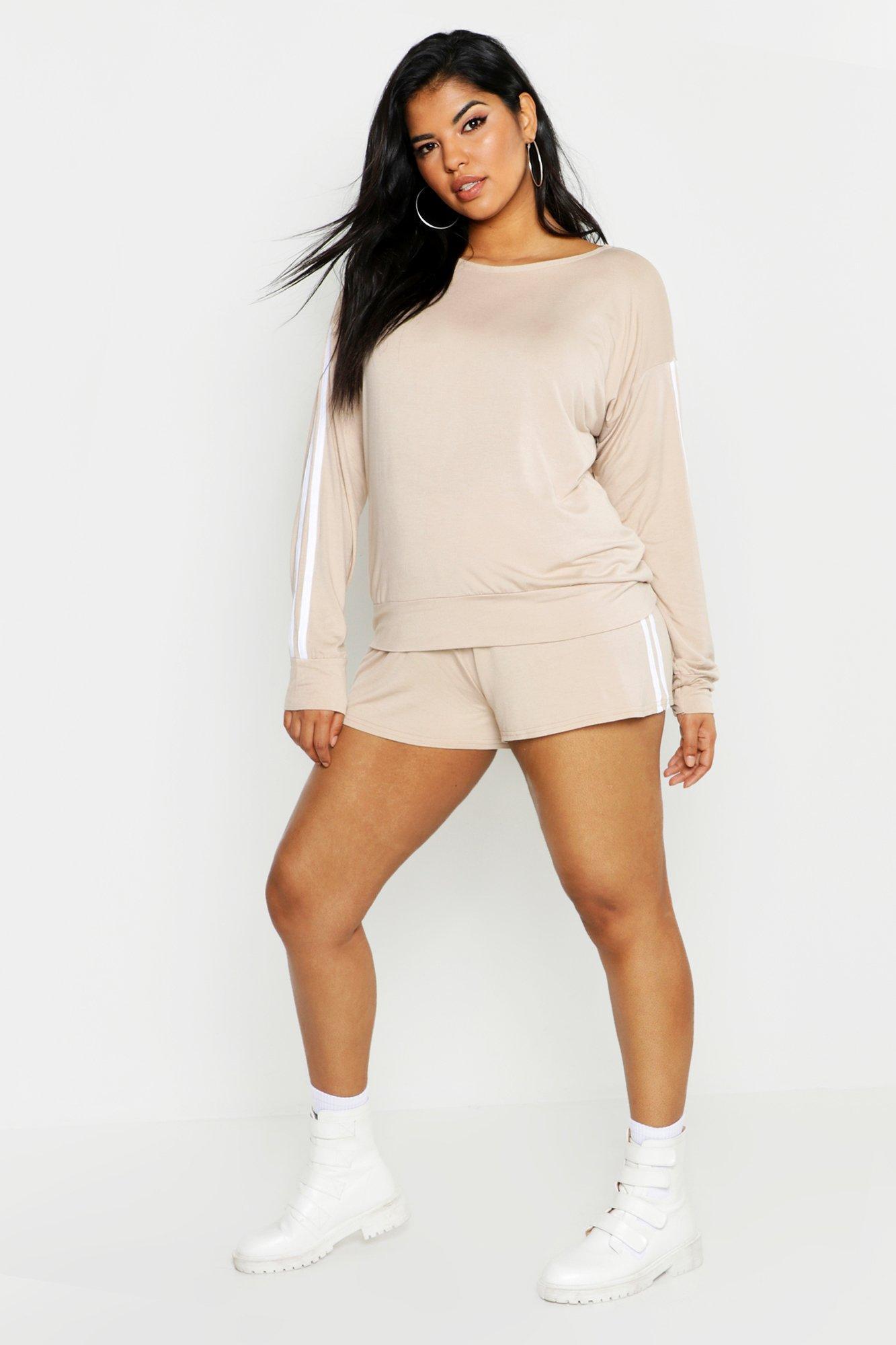 Plus Side Stripe Short Loungewear Set