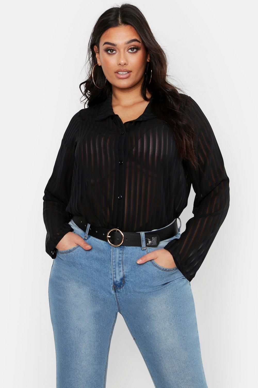 Womens Plus gestreiftes Oversized-T-Shirt aus Chiffon - schwarz - 54, Schwarz - Boohoo.com