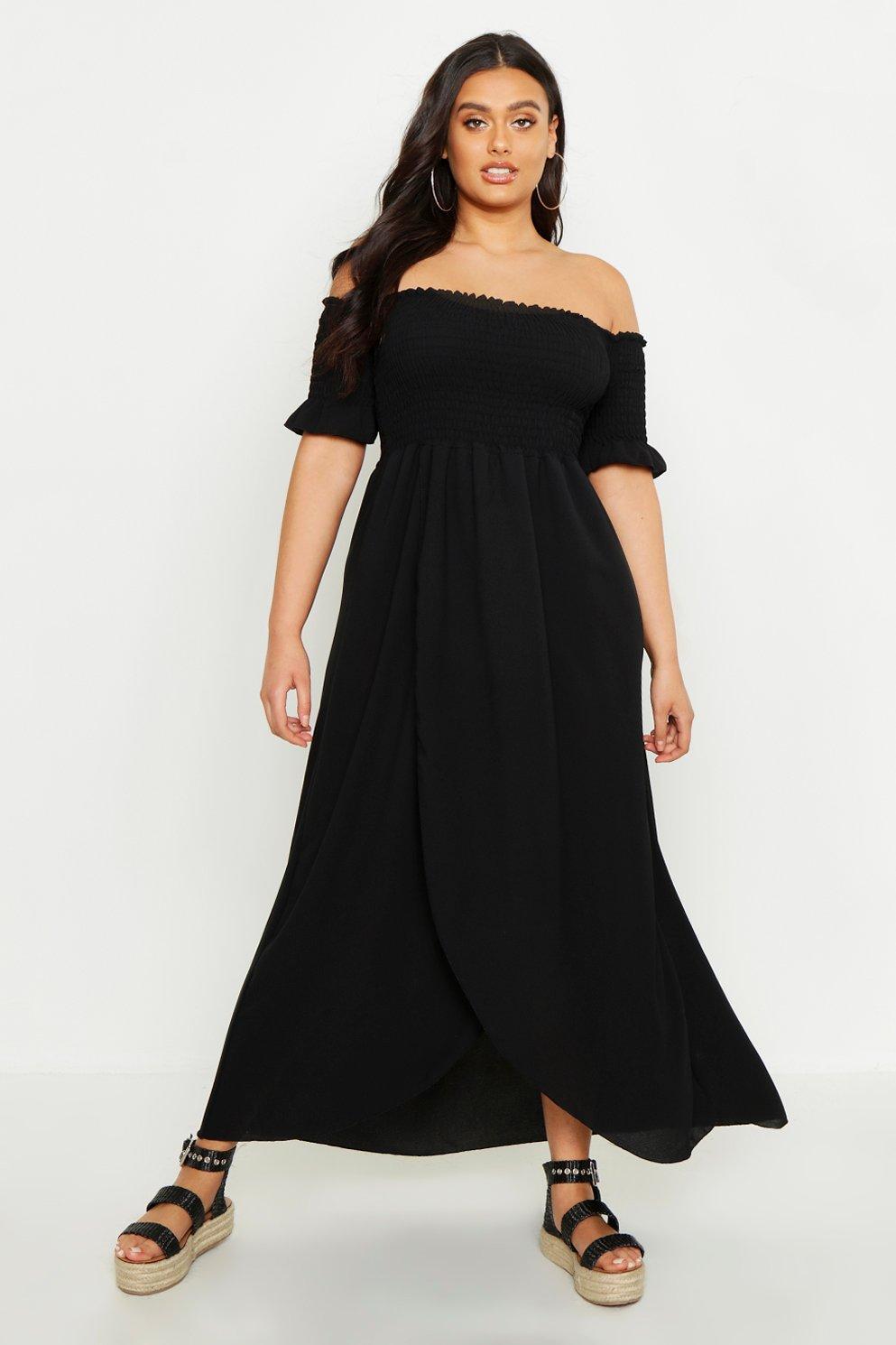 Boohoo Plus Off Shoulder Maxi Dress, Black