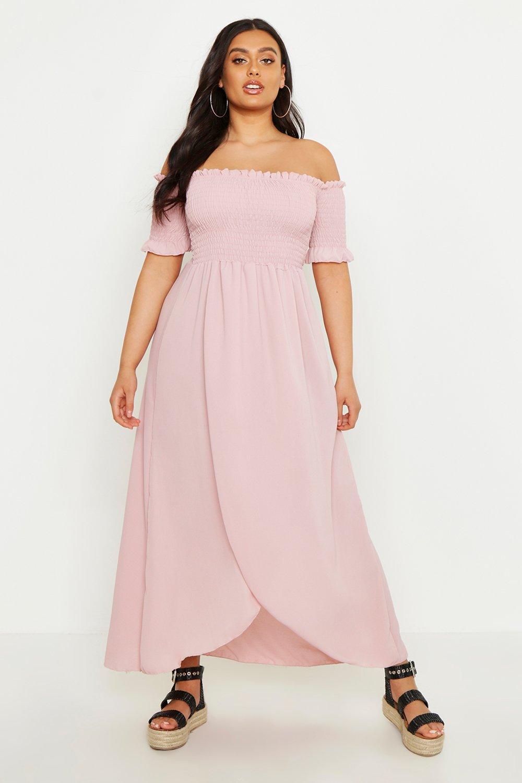 Boohoo Plus Off Shoulder Maxi Dress, Blush