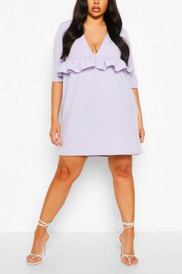 Lilac Plus Ruffle Plunge Smock Dress