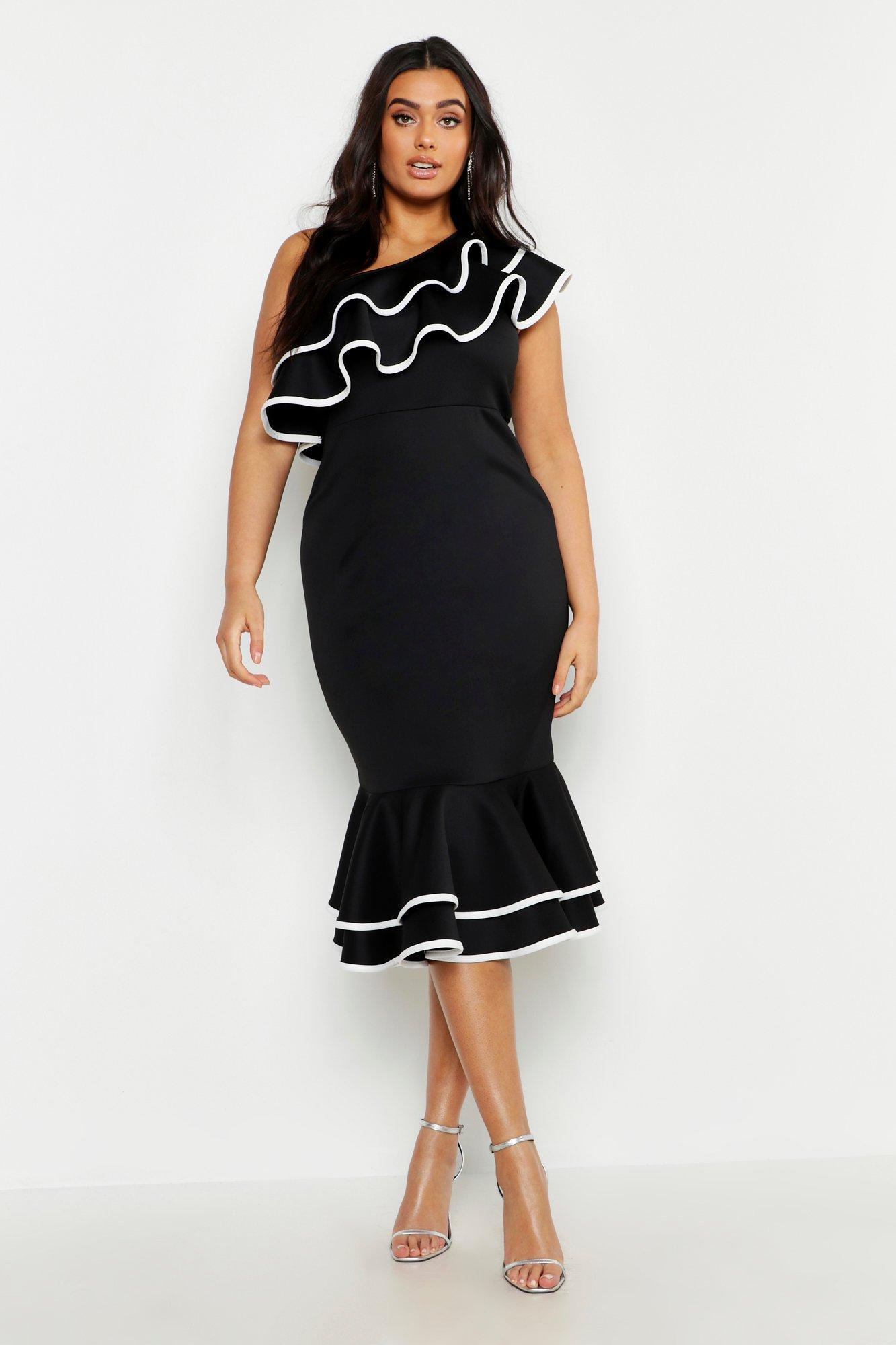 Plus One Shoulder Contrast Ruffle Midi Dress