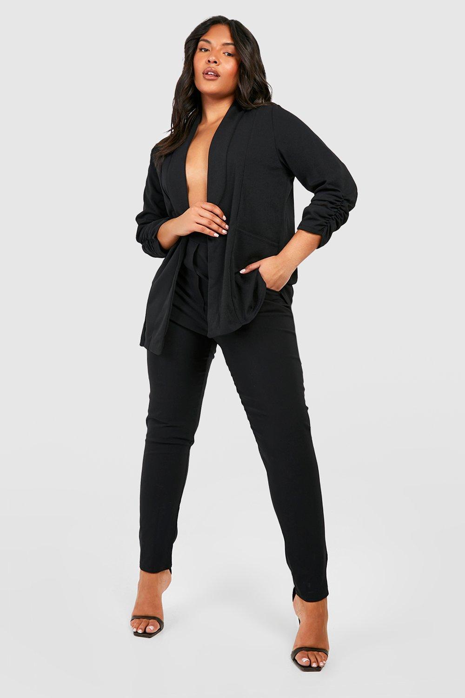 boohoo Womens Plus Lapel Detail Ruched Sleeve Blazer - Black - 18, Black