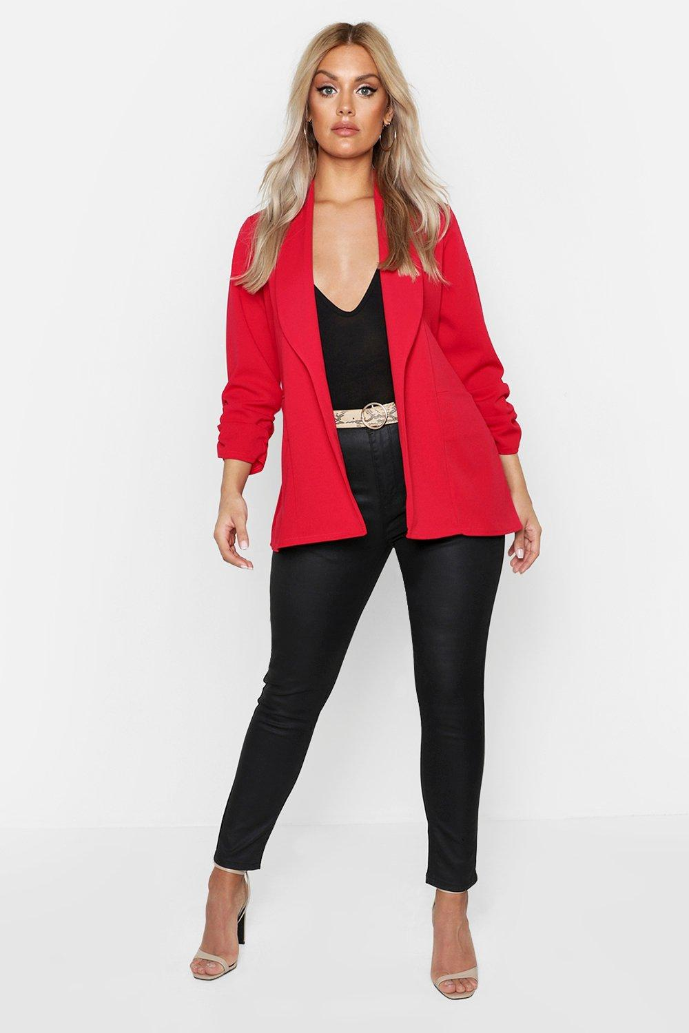 boohoo Womens Plus Lapel Detail Ruched Sleeve Blazer - Red - 16, Red