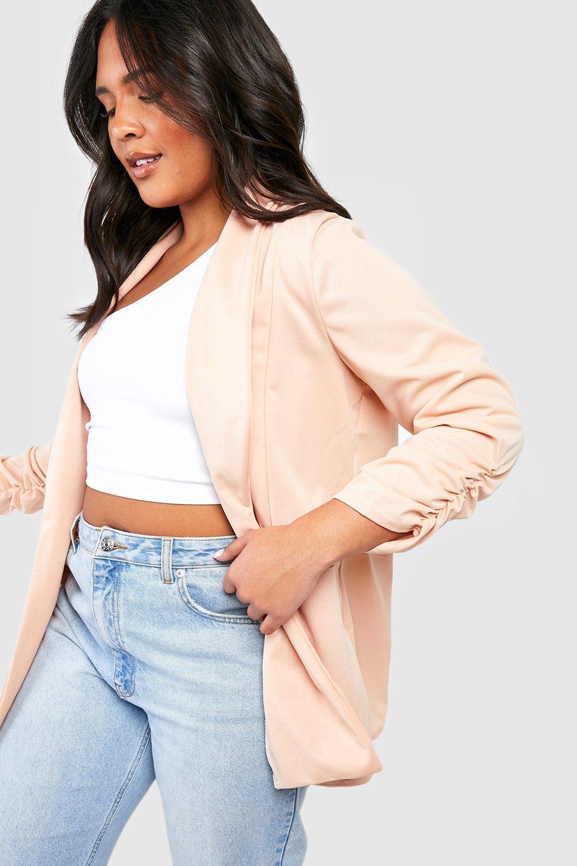 boohoo Womens Plus Lapel Detail Ruched Sleeve Blazer - Beige - 22, Beige