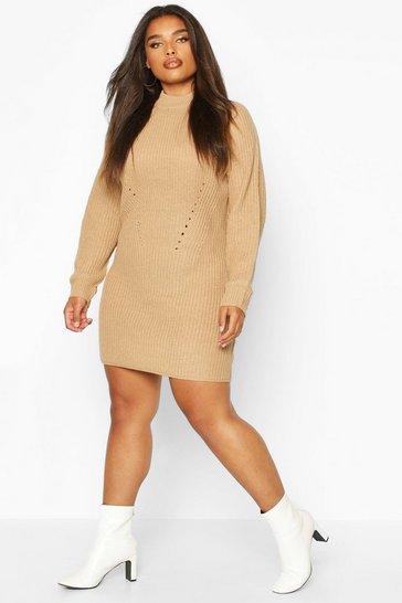 Camel Plus Rib Knit Jumper Dress