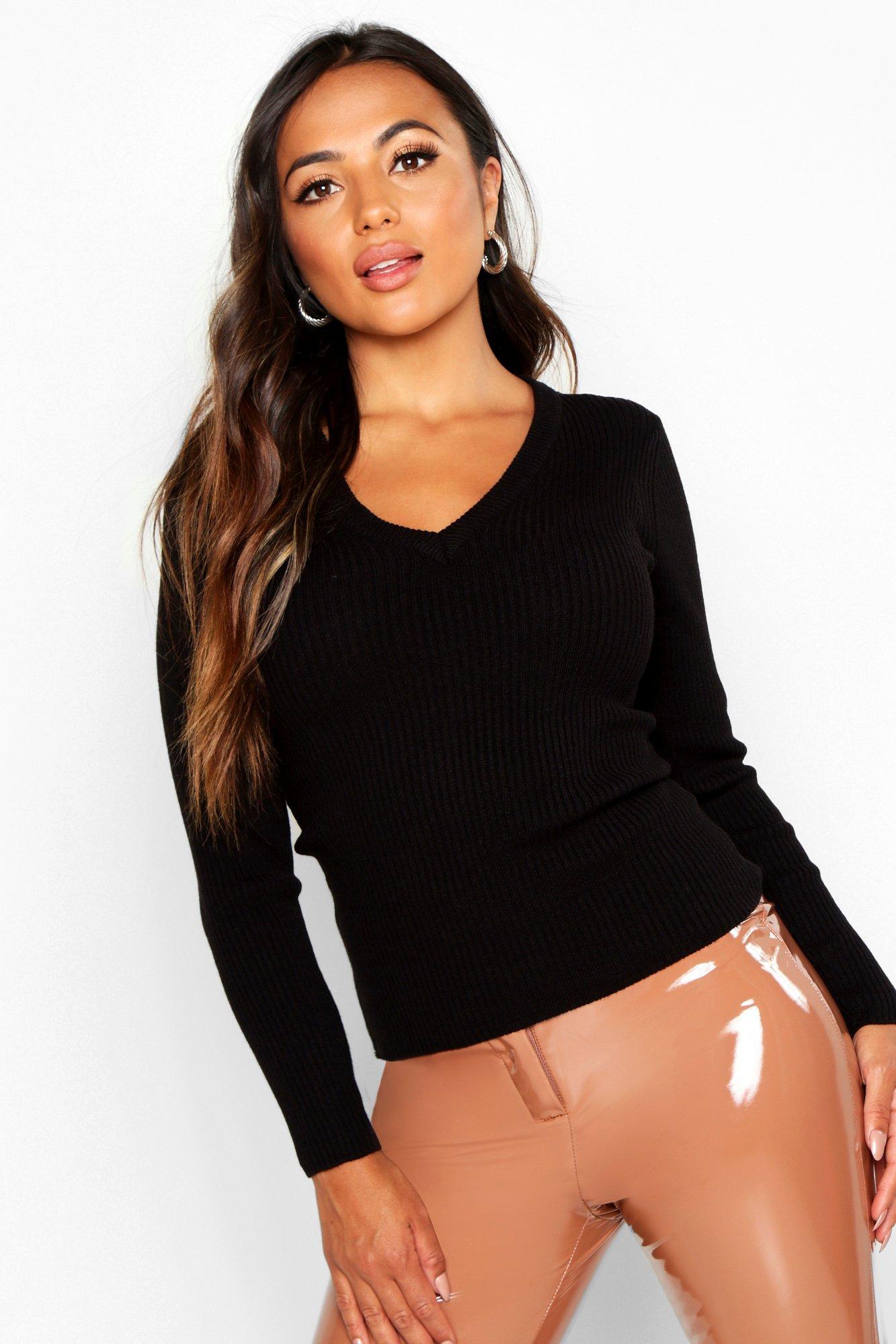Womens Petite gerippter Pullover mit V-Ausschnitt - schwarz - L, Schwarz - Boohoo.com