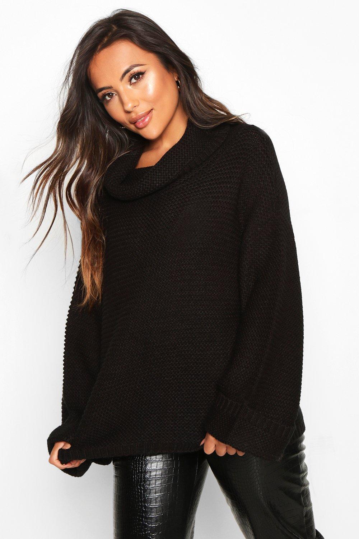 Womens Petite Oversized-Pullover mit Wasserfallausschnitt und seitlich geschlitztem Saum - schwarz - S, Schwarz - Boohoo.com