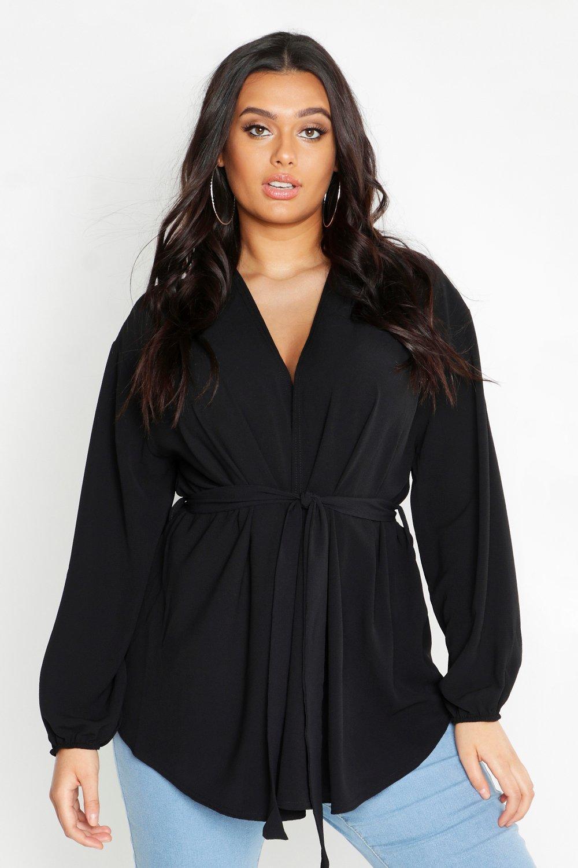Womens Plus Pastel Woven Wrap Top - black - 48, Black - Boohoo.com
