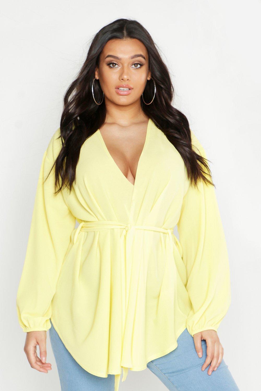 Womens Plus Pastel Woven Wrap Top - lemon - 48, Lemon - Boohoo.com