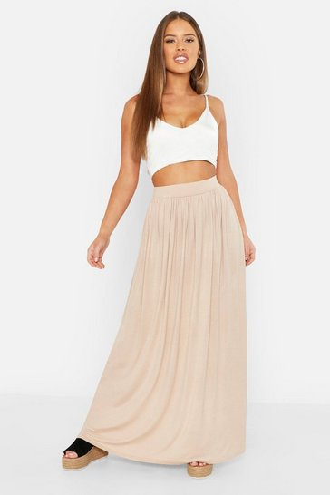 Sand Petite Floor Sweeping Jersey Maxi Skirt