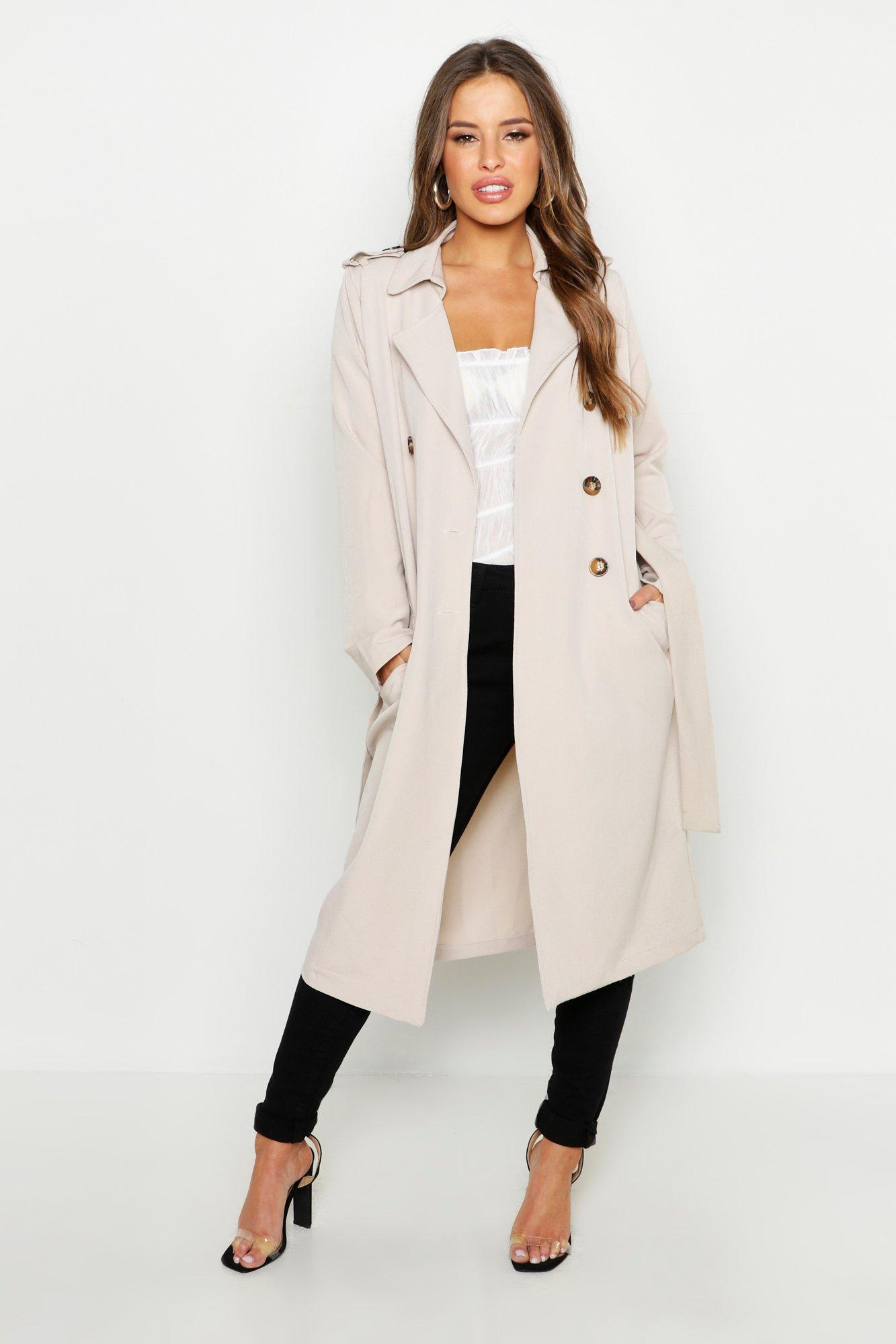 boohoo Womens Petite Utility Button Detail Trench Coat - Beige - 8, Beige