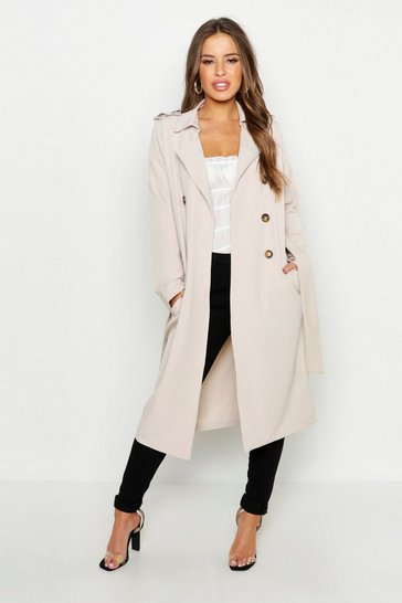 Stone Petite Utility Button Detail Trench Coat