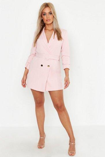 Blush Plus Double Breast Gold Button Blazer Dress