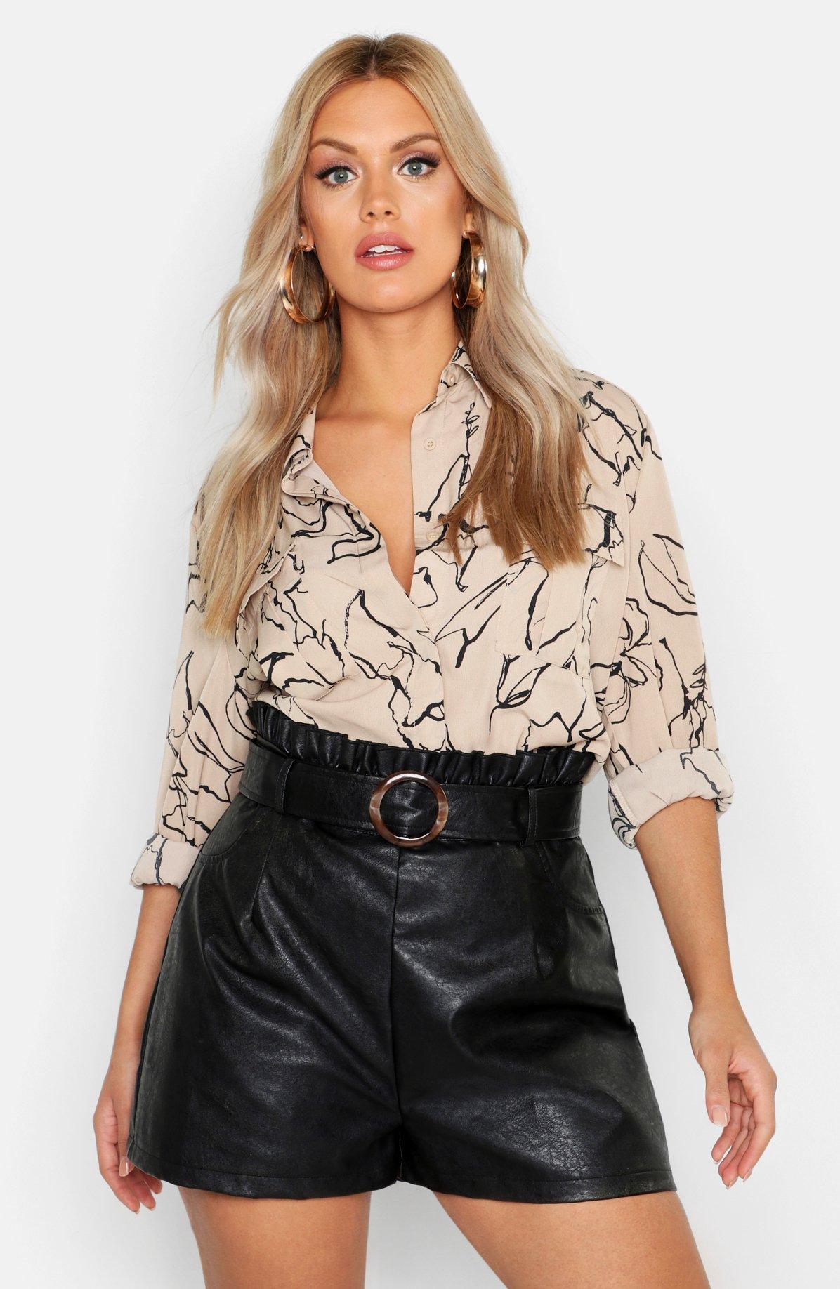 Womens Plus Line Drawing Utility Shirt - taupe - 44, Taupe - Boohoo.com