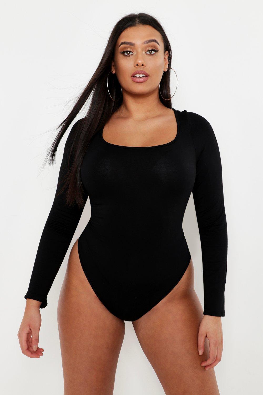 Womens Plus Basic Extreme Scoop Jersey Bodysuit - black - 50, Black - Boohoo.com