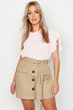 Plus Bluse aus Webstoff mit Rüschenärmeln und -kragen - Boohoo.com