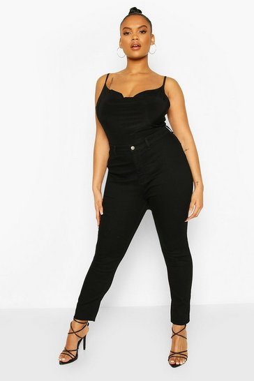 Black Plus High Rise Stretch Skinny Jeans