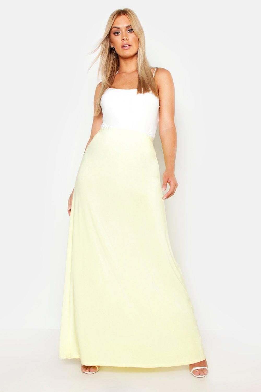 Womens Plus Maxirock aus glänzendem Jersey - Zitronengelb - 44, Zitronengelb - Boohoo.com