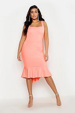 Plus Square Neck Fish Tail Midi Dress