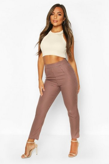 Stone Petite Dogtooth Check High Waist Tapered Trouser