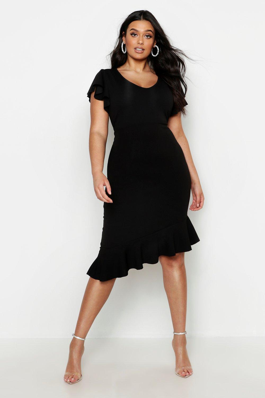 Купить Dresses, Plus Frill Sleeve Asymmetric Hem Dress, boohoo