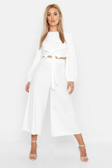 Ivory Plus Scuba Crepe Wrap Top And Culotte Co-ord