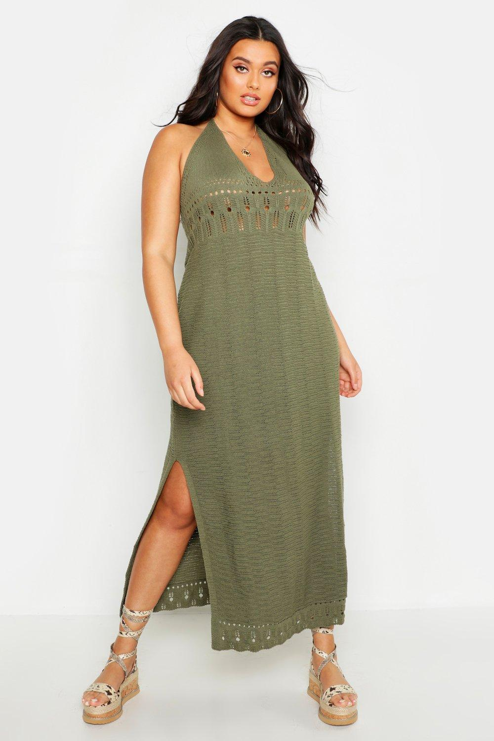 boohoo Womens Plus Crochet Halter Neck Maxi Dress - Green - 22, Green