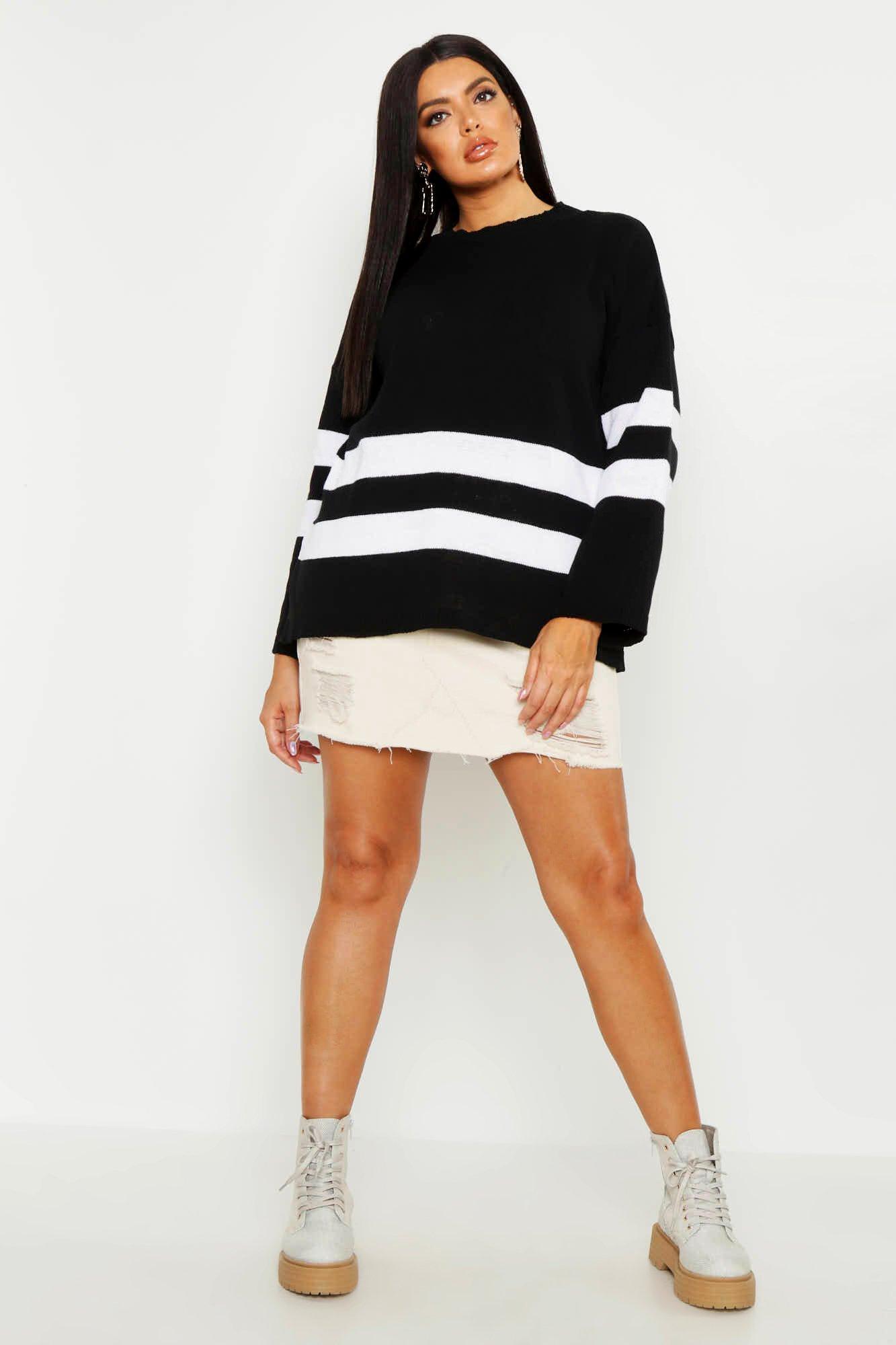 Womens Plus lässiger Oversized Pullover mit Streifen - schwarz - 42, Schwarz - Boohoo.com