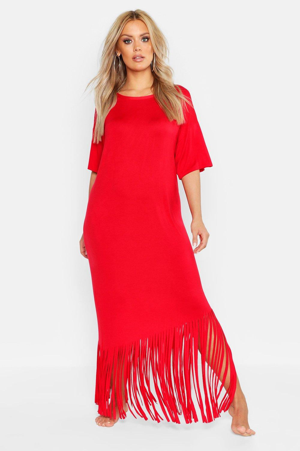boohoo Womens Plus Tassel Beach Maxi Dress - Red - 18, Red